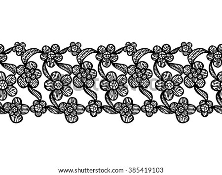 Black and White Seamless Lacy Ribbon with Hand Drawn Floral Elements. Vector Illustration. - stock vector