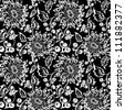 Black and white seamless pattern  Abstract seamless background  with leaves and flowers - stock vector