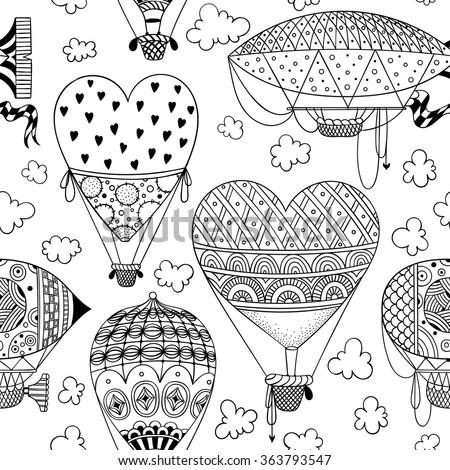 black and white seamless pattern with aerostat / air balloon / airship / clouds / hearts. abstract vector doodle art print. Wallpaper, cloth design, fabric, paper, textile, coloring book. hand drawn - stock vector