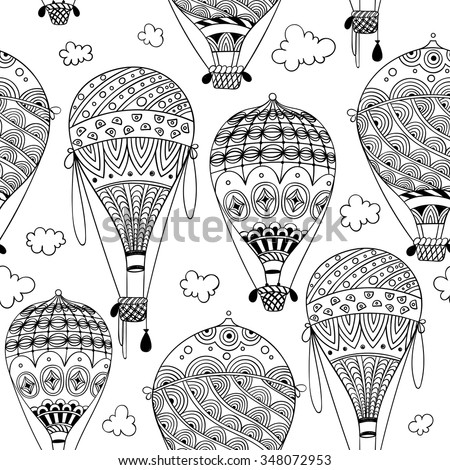 black and white seamless pattern with aerostat / air balloon and clouds. abstract vector doodle art print. Wallpaper, fabric, paper, wrapping, postcards, textile, coloring book. hand drawn - stock vector
