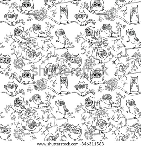 Black and white seamless pattern with owls on the branch - stock vector