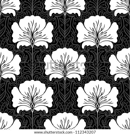 Black and white seamless pattern with pink flowers on blue background. Art nouveau style. - stock vector