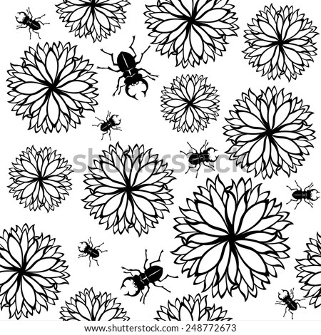 black and white seamless vector with flowers and bugs - stock vector