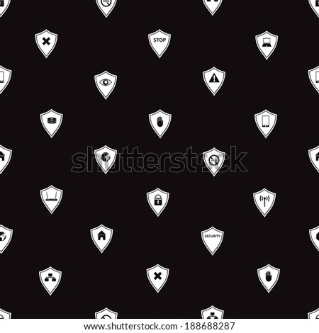 black and white security shields pattern eps10 - stock vector