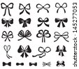 Black and white silhouette image of bow set - stock vector