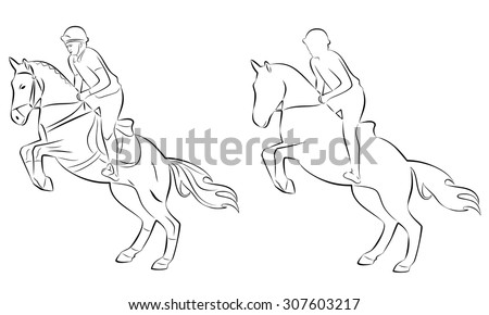 black and white silhouette , rider on horse, white background , isolated sketch set - stock vector