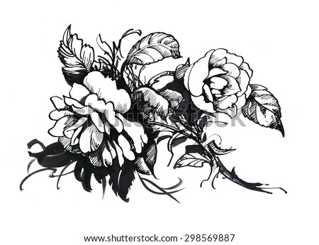 Black and white sketch with rose flowers vector illustration - stock vector