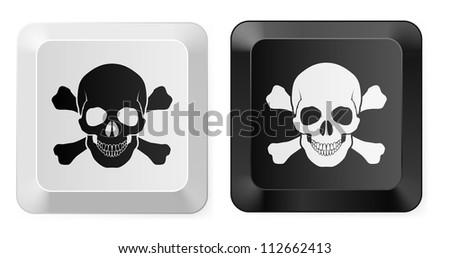 Black and White Skull button. Illustration for design - stock vector