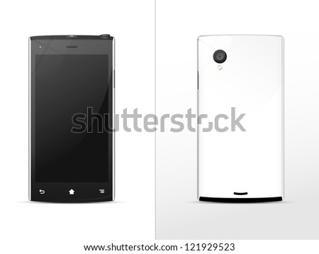 black-and-white smart phone, front and rear - stock vector