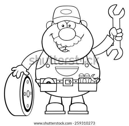 Black And White Smiling Mechanic Cartoon Character With Tire And Huge Wrench. Vector Illustration Isolated On White - stock vector