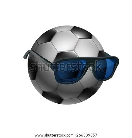 Black and white soccer ball wearing sunglasses. EPS10 vector. - stock vector