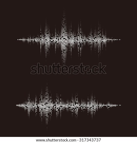 Black and white sound waves. Music waveform background. Halftone square vector elements. You can use in club, radio, pub, party, concerts, recitals or the audio technology advertising background. - stock vector