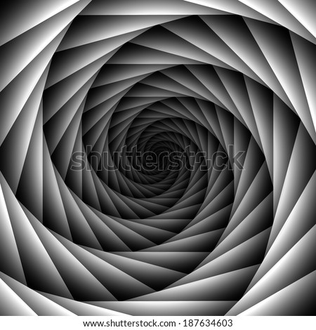 Black and white spiral - stock vector