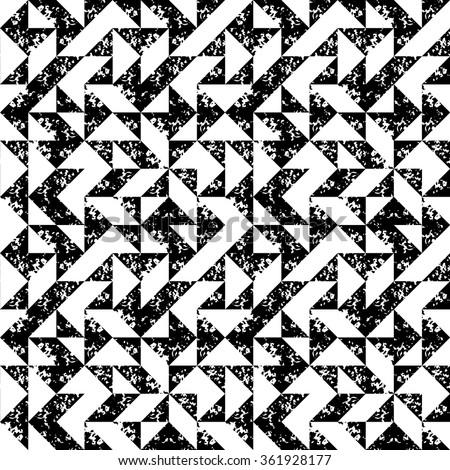 Black and white sponge print triangles geometric grunge seamless pattern, vector - stock vector