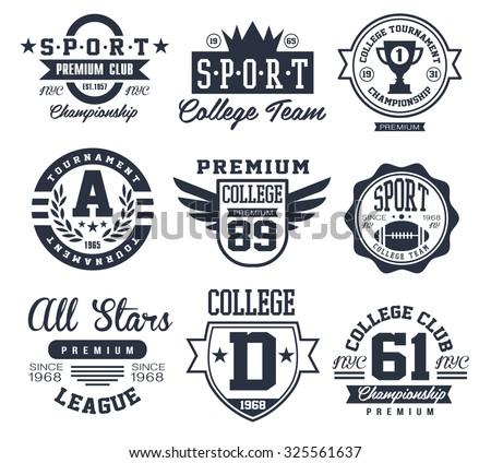 Black and White Sport Emblems Logos Vector Illustration Set - stock vector