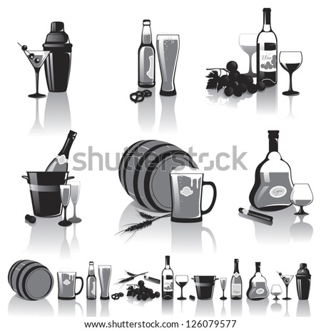 Black-and-white still-life of spirits and glasses with reflection - stock vector