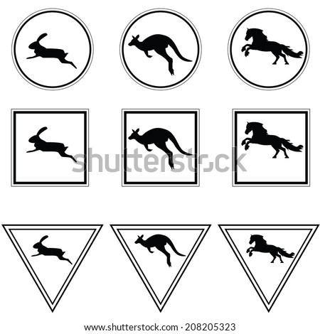 Black and white street signs with kangaroo, horse and rabbit. Vector. - stock vector