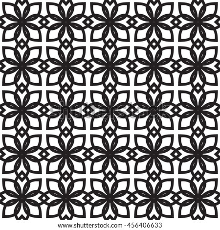 Black  and white stylish texture with flowers. Vector seamless pattern. Repeating geometric tiles.  - stock vector