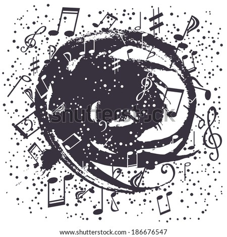 Black-and-white swirl of musical symbols - stock vector