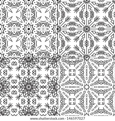 Black and White Textile Patterns Set. Vector Seamless. - stock vector