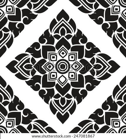 black and white Thai style art pattern wallpaper - stock vector
