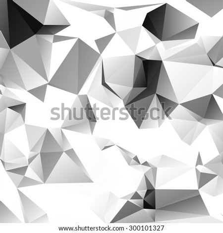 Black and white triangle background or vector frame. Abstract polygonal backdrop. Geometric design for business presentations. EPS10 - stock vector