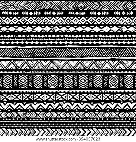 black and white tribal doodle seamless pattern. aztec grunge abstract geometric art print. ethnic hipster backdrop. Wallpaper, cloth design, fabric, paper, wrapping, postcards, textile. hand drawn.   - stock vector