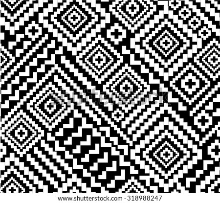 black and white tribal geometric seamless background - stock vector
