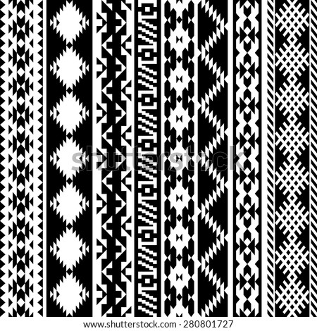 black and white tribal Navajo seamless pattern. aztec geometric print. ethnic hipster backdrop. 