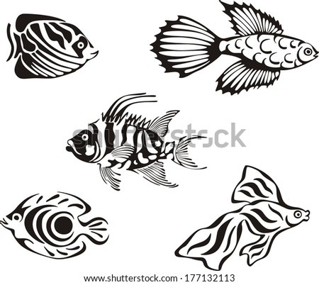Black and white tropical fishes. Set of black and white vector illustrations. - stock vector