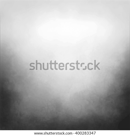 black and white vector background with cloudy white center and gradient black grunge texture on bottom border, silver gray background with black corners - stock vector