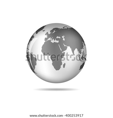 Black and white vector Earth globe isolated on white. Black simple scheme of the globe. Globe earth Icon - vector illustration. - stock vector