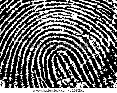 Black and White Vector Fingerprint Crop  - Low Poly Count - stock vector