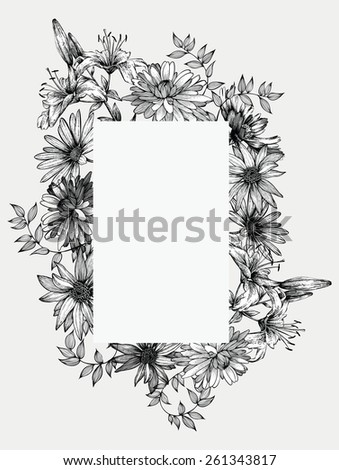 Black and white vector illustration. Frame with flowers, hand-drawing. - stock vector