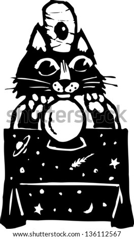 Black and white vector illustration of a cat predicting the future - stock vector