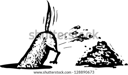 Black and white vector illustration of a dog digging - stock vector