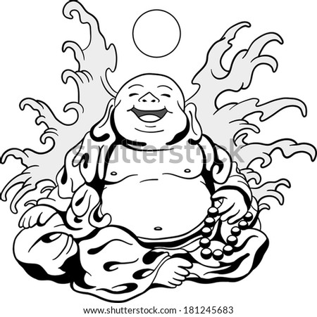 a Happy Buddha Surrounded