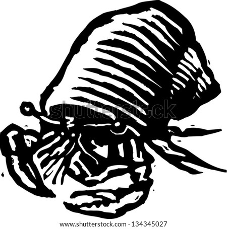 Black and white vector illustration of a hermit crab - stock vector