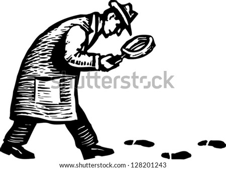 Black and white vector illustration of detective with magnifying glass following footprints and clues - stock vector