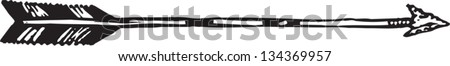 Black and white vector illustration of Hunting Arrow - stock vector