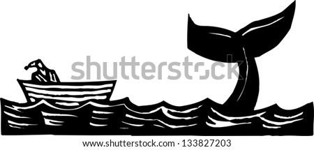 Black and white vector illustration of Jonah and the whale - stock vector
