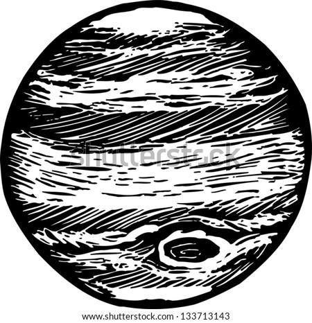 Black and white vector illustration of Jupiter - stock vector
