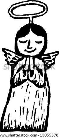 Black and white vector illustration of little girl angel - stock vector