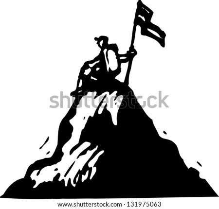 Black and white vector illustration of mountain climber on the top of the mountain - stock vector
