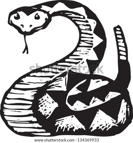 Black and white vector illustration of Rattle Snake - stock vector