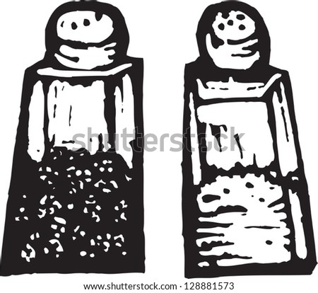 Black and white vector illustration of salt and pepper - stock vector