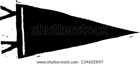 Black and white vector illustration of Sports Pennant - stock vector