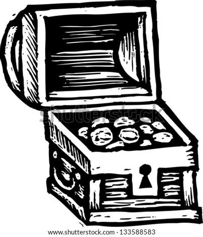 Black and white vector illustration of treasure chest - stock vector