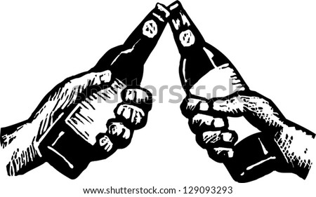 Black and white vector illustration of two hands toasting with beer - stock vector