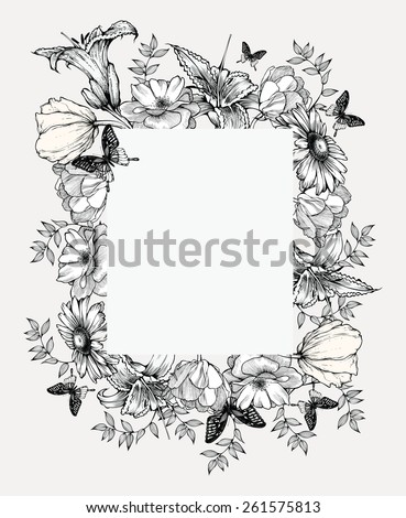 Black and white vector illustration. Vintage frame with flowers and butterflies. - stock vector